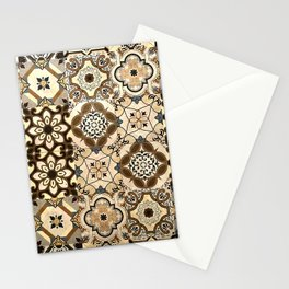 Moroccan Tiles. Brown Spanish Moroccan Tiles Pattern. Mosaic Tiles Stationery Cards