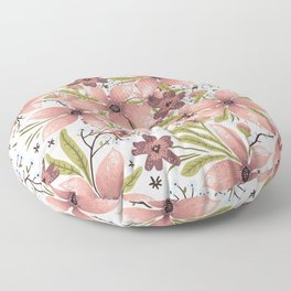 Pink Abstract Flowers Floor Pillow