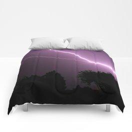 Purple Lightning Night Sky Comforters