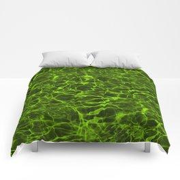 Neon Green Underwater Wavy Rippling Water Comforters