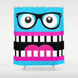 Crazy Blue Nerdy Face Shower Curtain