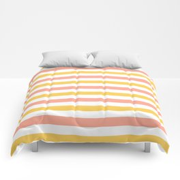 Yellow, coral and white horizontal stripes Comforters