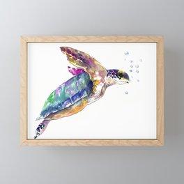 Hawaiian Sea Turtle, swimming turtle bathroom design Framed Mini Art Print
