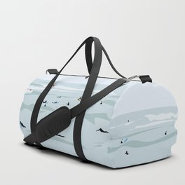 Tiny Surfers in Lima Illustrated Duffle Bag