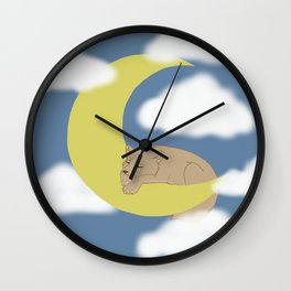 A Wolf Pup on the Moon Wall Clock