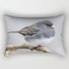 Fluffy Cassiar Dark-Eyed Junco on the Pear Tree Rectangular Pillow