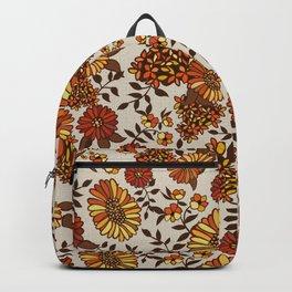 Retro 70s boho hippie orange flower power Backpack