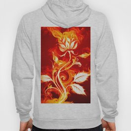 Cool Orange and Yellow Fire Flower Fire Rose Hoody