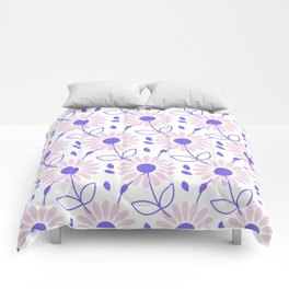 Pastel pink violet hand painted daisies floral pattern Comforters