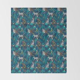 Lemurs on Blue Throw Blanket