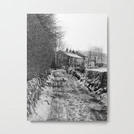 snow on the road - dark lane rawtenstall Metal Print