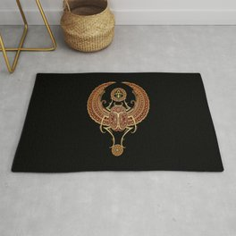 Golden Red Winged Egyptian Scarab Beetle with Ankh Rug