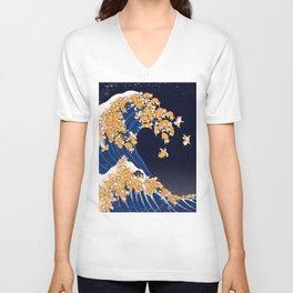 Shiba Inu The Great Wave in Night Unisex V-Ausschnitt