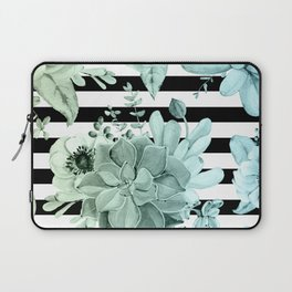 Succulents in the Garden Teal Blue Green Gradient with Black Stripes Laptop Sleeve
