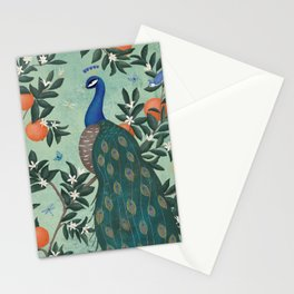 Tropical Peacock Chinoiserie With Oranges Stationery Cards