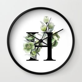 Letter 'H' Helleborus Flower Typography Wall Clock