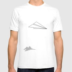 Paper Airplane Dreams Mens Fitted Tee MEDIUM White