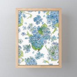 Blue Hydrangea Watercolor Framed Mini Art Print