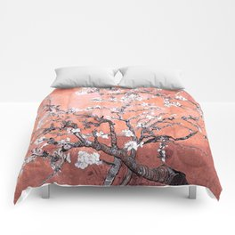 Van Gogh Almond Blossoms : Deep Peach Comforters