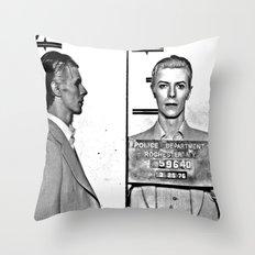 Bowie, David Mugshot (1976) Rochester, N.Y. Throw Pillow