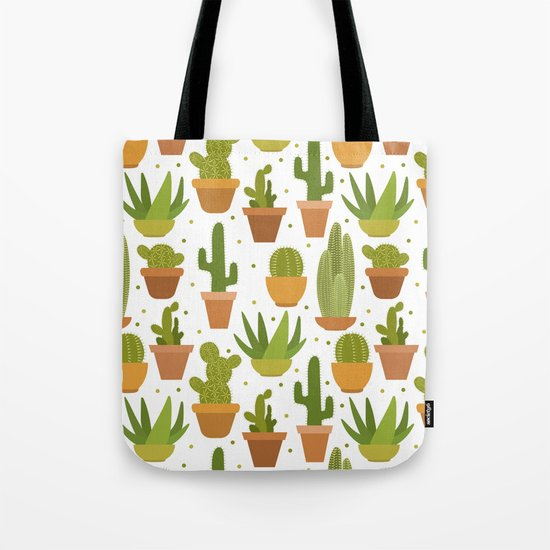 Cactuses white pattern Tote Bag