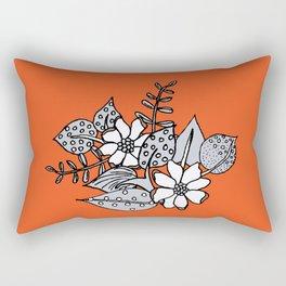 Orangey Gray Floral Rectangular Pillow