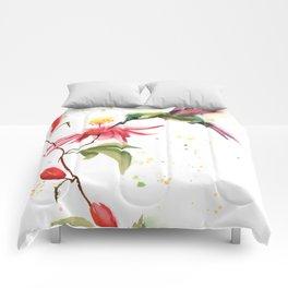 Hummingbird and flower Comforters