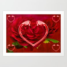 Hearts And Roses Art Print