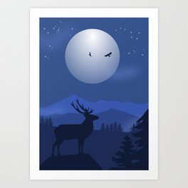 Mystical Night in the Mountains Art Print