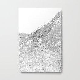 Cleveland White Map Metal Print
