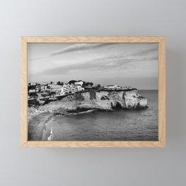 Carvoeiro town and beach in Lagoa, Algarve, Portugal. Black and White. Framed Mini Art Print