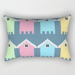 British Seaside Beach Huts Rectangular Pillow