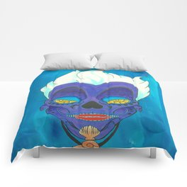Ursula from THE LITTLE MERMAID Day of the Dead (Dias De Los Muertos) Skull Painting on Canvas Comforters