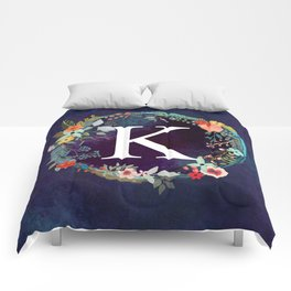 Personalized Monogram Initial Letter K Floral Wreath Artwork Comforters