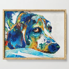 Colorful Beagle Dog Art By Sharon Cummings Serving Tray