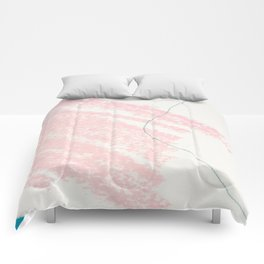 Blush pink white blue watercolor crayon strokes pattern Comforters