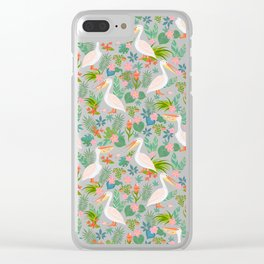 Floral Pelican Clear iPhone Case