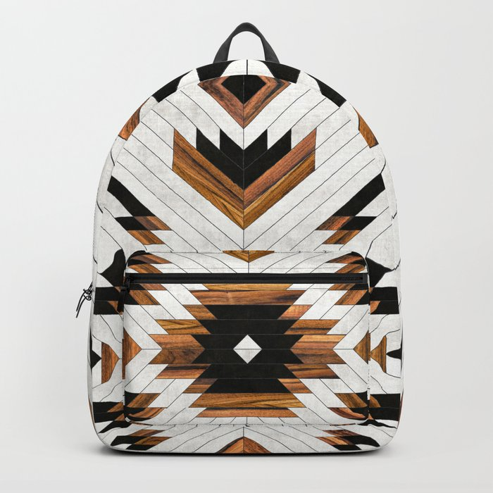 Urban Tribal Pattern No.5 - Aztec - Concrete and Wood Rucksack