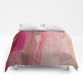 Blush: a pretty and gentle watercolor piece in pinks and browns Comforters