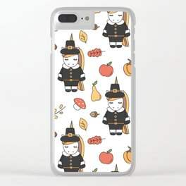 cartoon thanksgiving pattern with pilgrim unicorns, pumpkins, apples, pears, leaves and acorns Clear iPhone Case