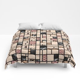 Modern Art Fishnets Skin and Leather Grid Pattern Comforters