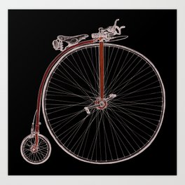 Blue Penny Farthing Art Print