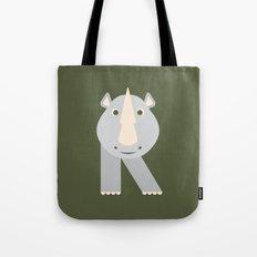 Letter R // Animal Alphabet // Rhino Tote Bag
