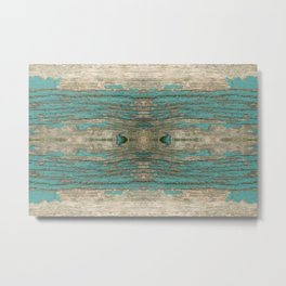 Weathered Rustic Wood - Weathered Wooden Plank - Beautiful knotty wood weathered turquoise paint Metal Print