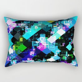 psychedelic geometric square pixel pattern abstract in blue yellow pink Rectangular Pillow
