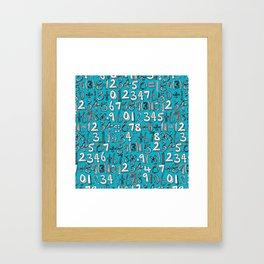 math doodle blue Framed Art Print