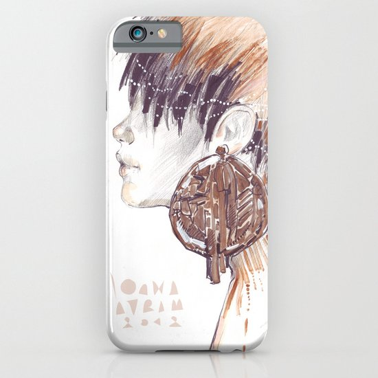 Fashion illustration profile portrait gold black white markers and watercolors iPhone & iPod Case