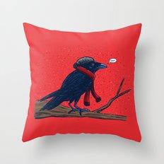 Annoyed IL Birds: The Crow Throw Pillow