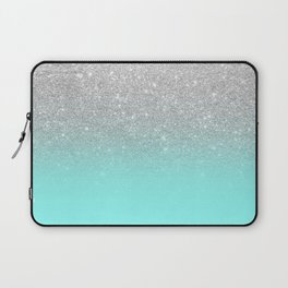 Modern girly faux silver glitter ombre teal ocean color bock Laptop Sleeve