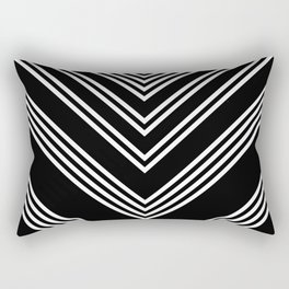 Back and White Lines Minimal Pattern No.3 Rectangular Pillow